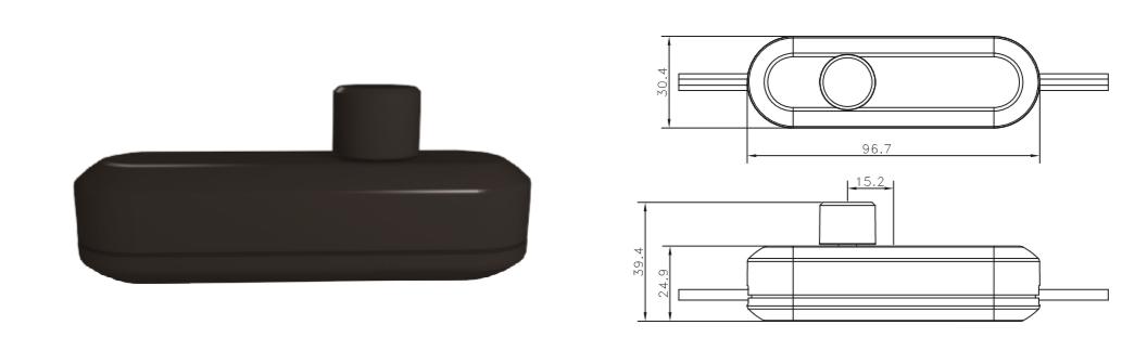 LED Snoerdimmer 0-50W - ZWART - technische tekening
