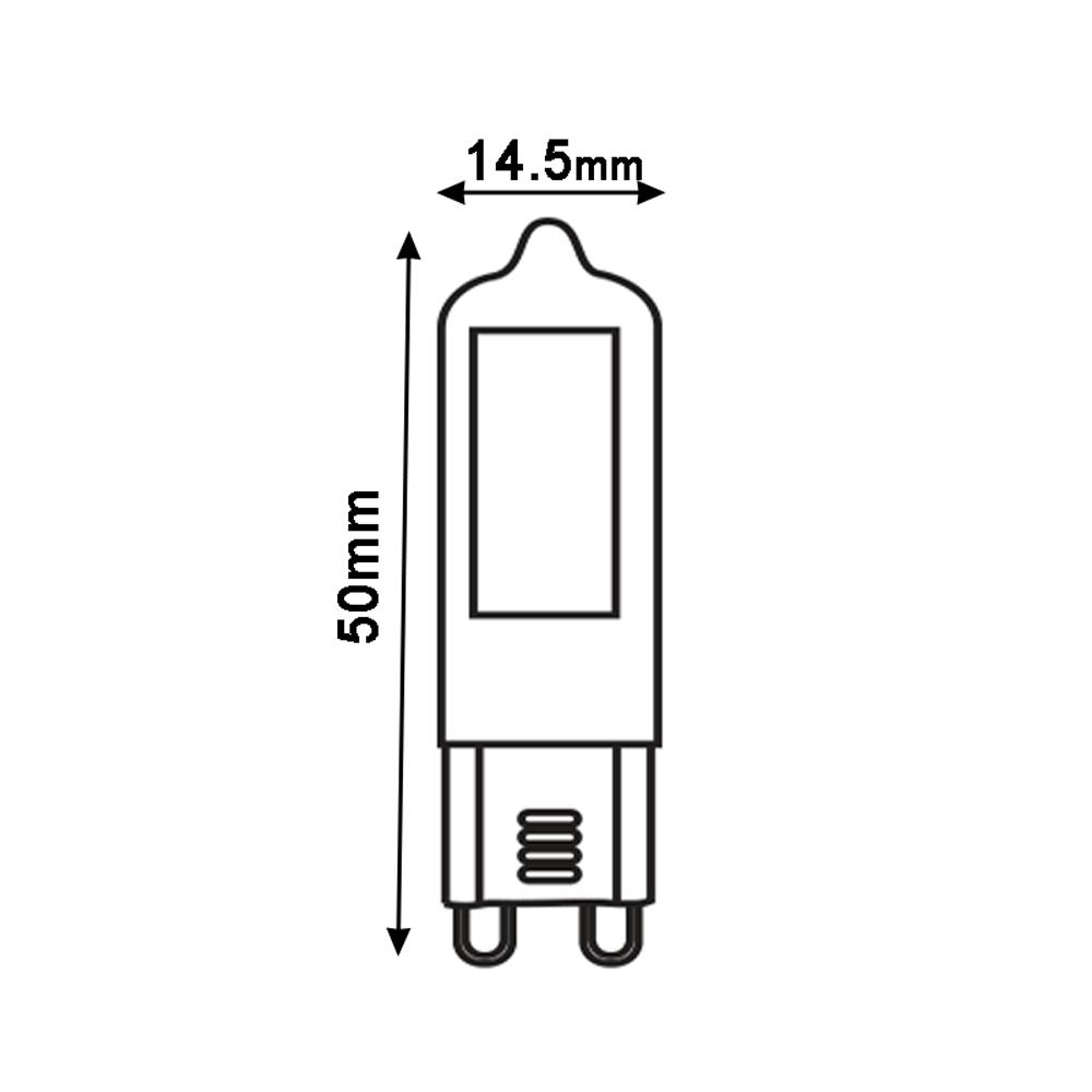 Led Spot G9 2 Watt 2700K - Warm wit - afmetingen