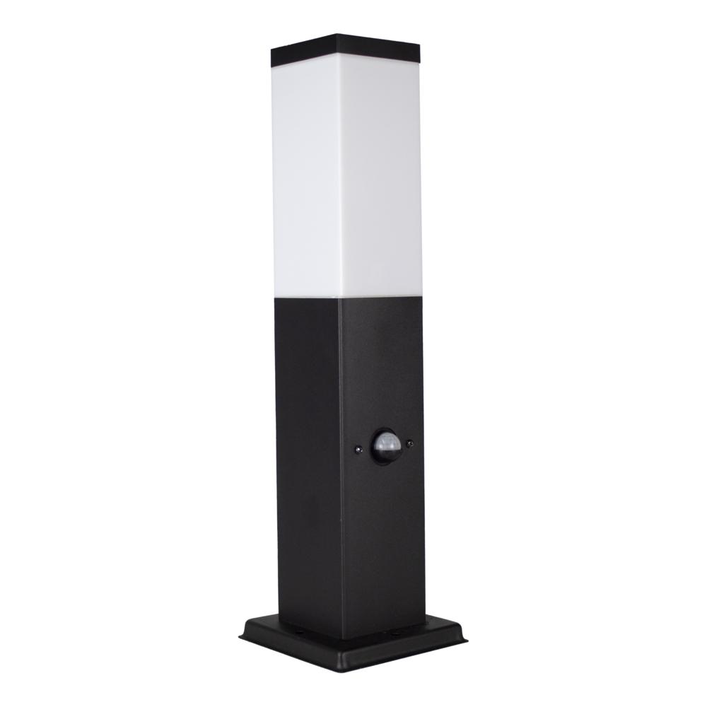 LED Staande buitenlamp met schermer en bewegingssensor - zwart - 45cm - IP44 - schuinaanzicht