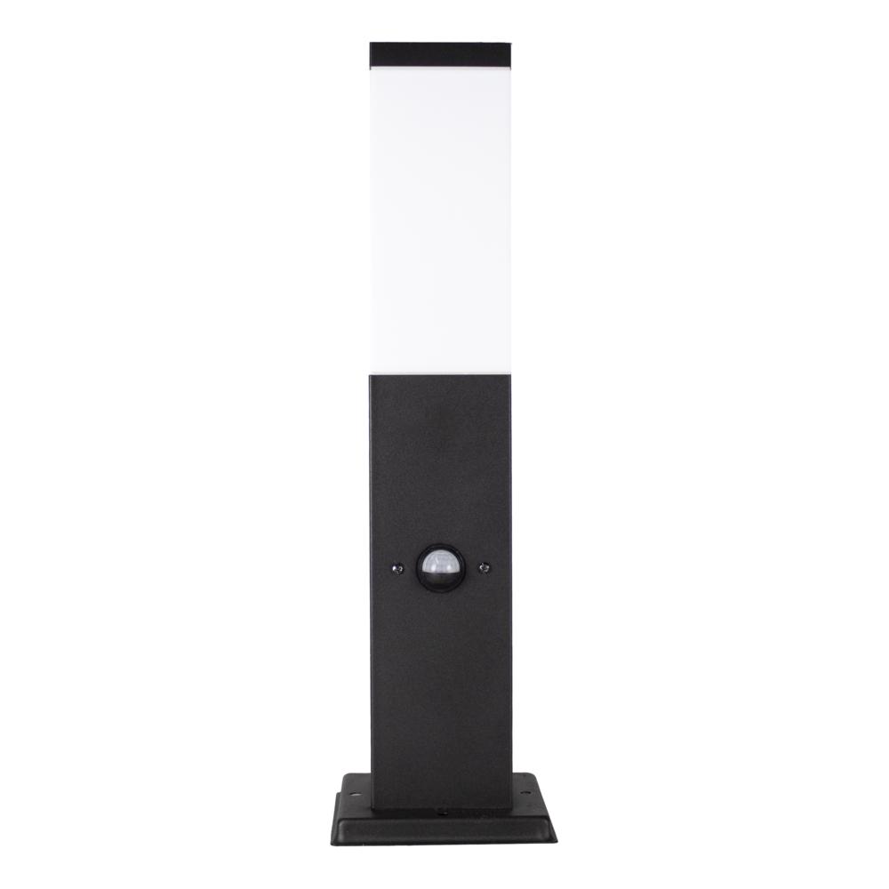 LED Staande buitenlamp met schermer en bewegingssensor - zwart - 45cm - IP44 - vooraanzicht
