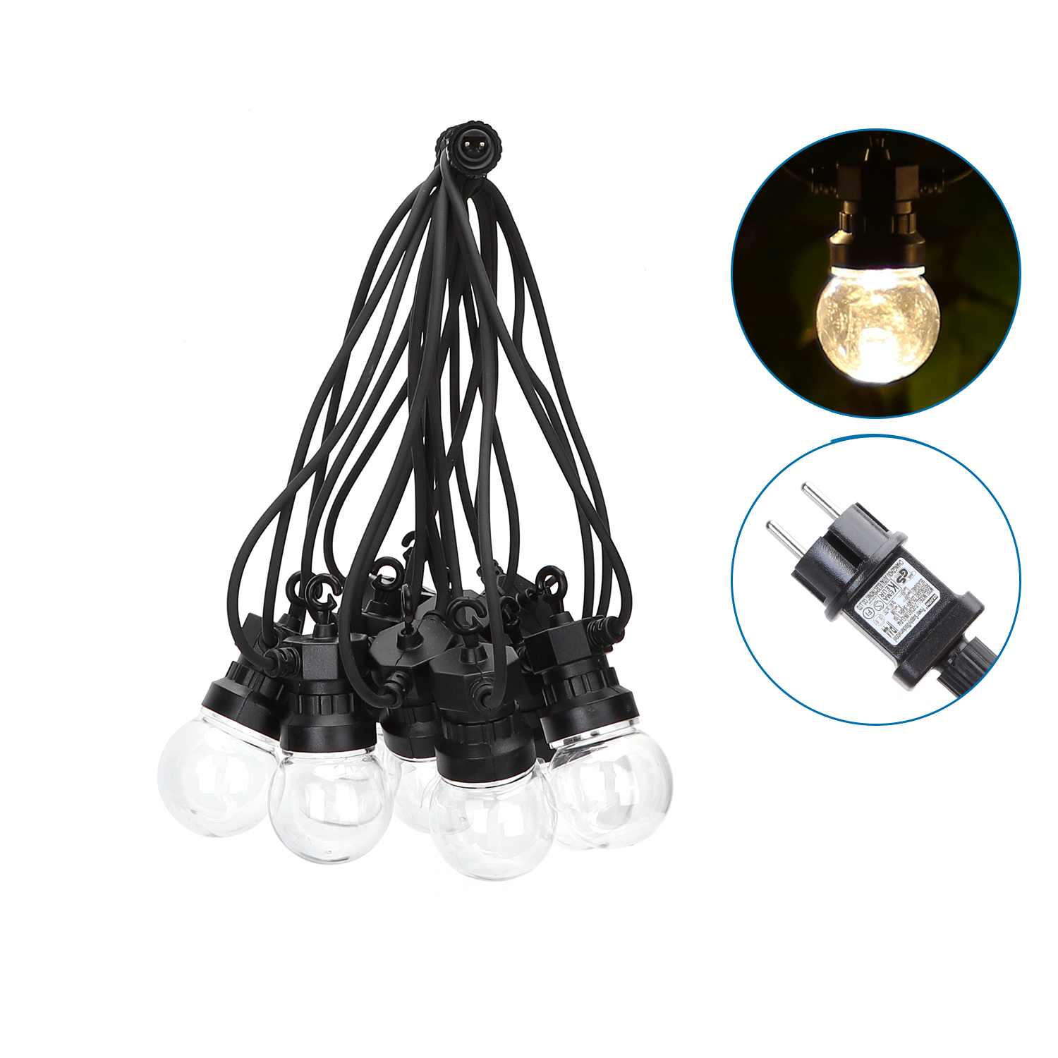 LED String light - feestverlichting - prikkabel inclusief 10x lampen - warm wit - 8 meter