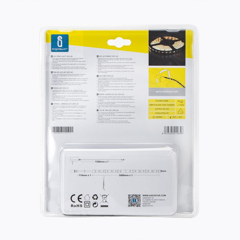 LED strip bundel 3000K warm wit complete set - achterkant verpakking