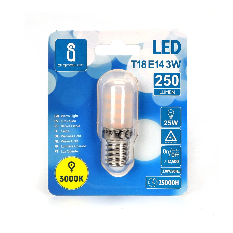Led T18 Koelkast lamp E14 3W 3000K Voorkant verpakking