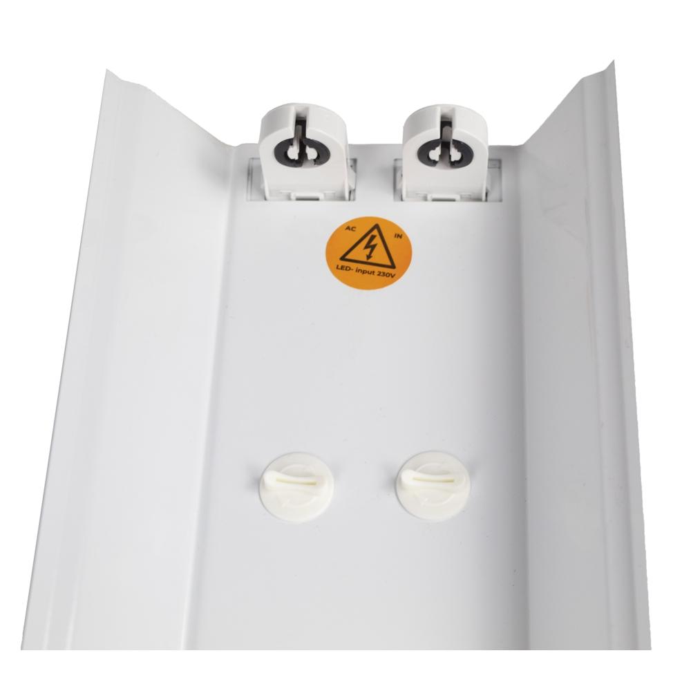 LED TL armatuur - bak - met reflector kap - 120cm - 150cm - trog armatuur T8 - IP22 - voor 2x led tl buizen - voedingskant