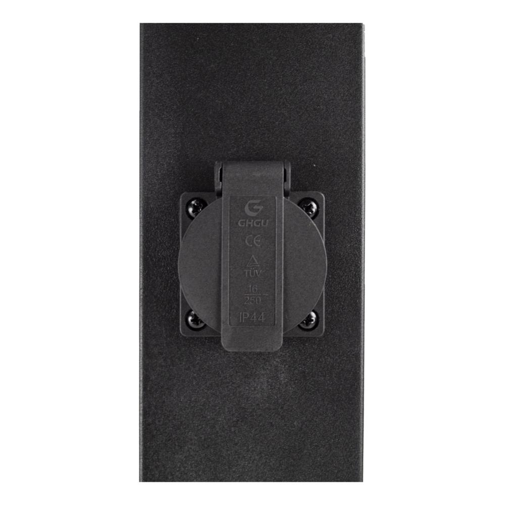 LED Tuinpaal met stopcontact - Staande buitenlamp stopcontact - E27 - dimbaar - zwart - 65cm
