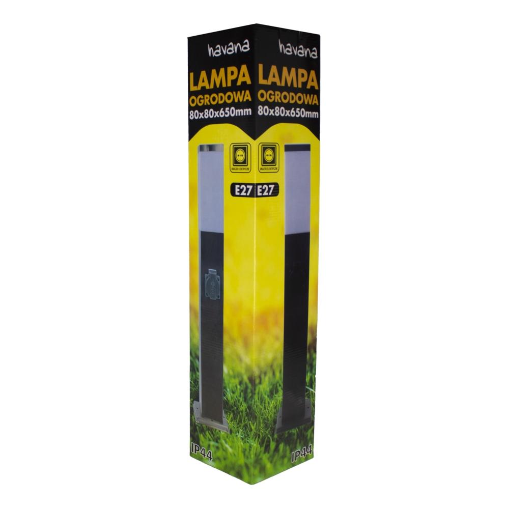LED Tuinpaal met stopcontact - Staande buitenlamp stopcontact - E27 - dimbaar - zwart - 65cm - verpakking
