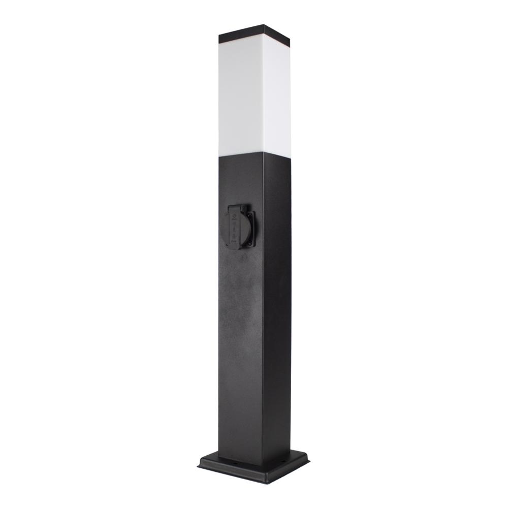 LED Tuinpaal met stopcontact - Staande buitenlamp stopcontact - E27 - dimbaar - zwart - 65cm - vooraanzicht