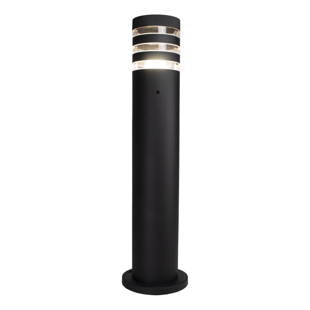 LED Tuinpaal - staander - E27 fitting - dimbaar - rond - zwart - modern - warm wit - vooraanzicht