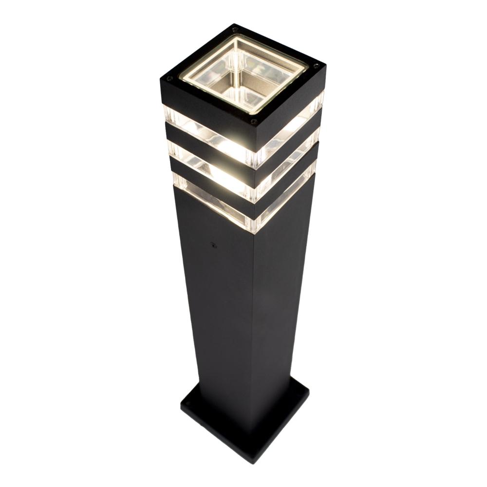 LED Tuinpaal zwart - vierkant - E27 fitting - 61cm - modern - dimbaar - bovenaanzicht