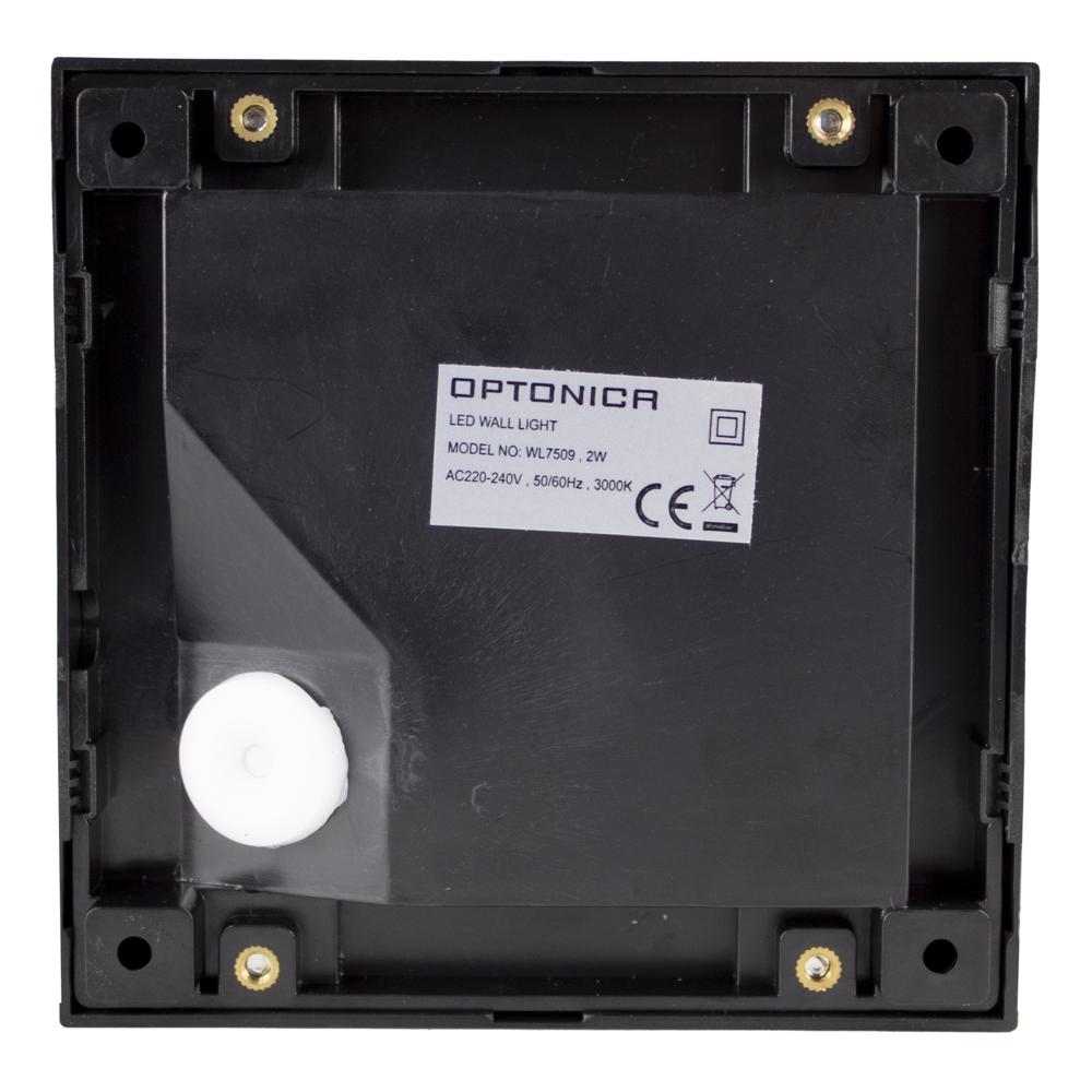LED Vierkante wand - trap - voetpad verlichting - 2 watt - 3000K warm wit - zwart - achterkant
