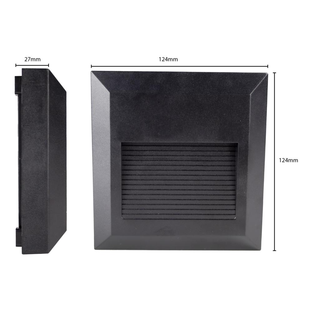 LED Vierkante wand - trap - voetpad verlichting - 2 watt - 3000K warm wit - zwart - afmetingen