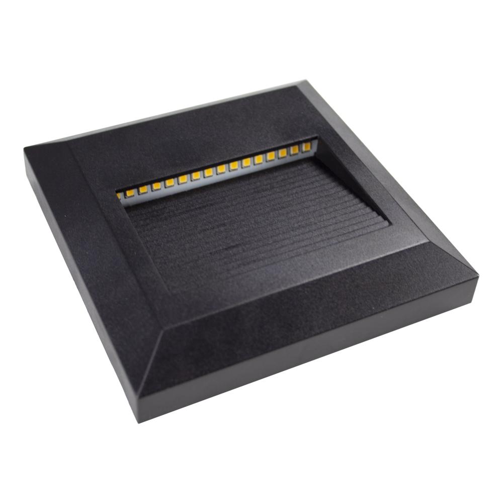 LED Vierkante wand - trap - voetpad verlichting - 2 watt - 3000K warm wit - zwart - onderaanzicht