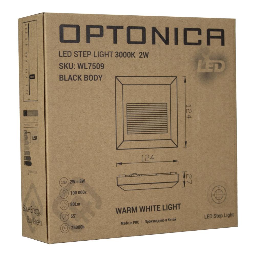 LED Vierkante wand - trap - voetpad verlichting - 2 watt - 3000K warm wit - zwart - verpakking
