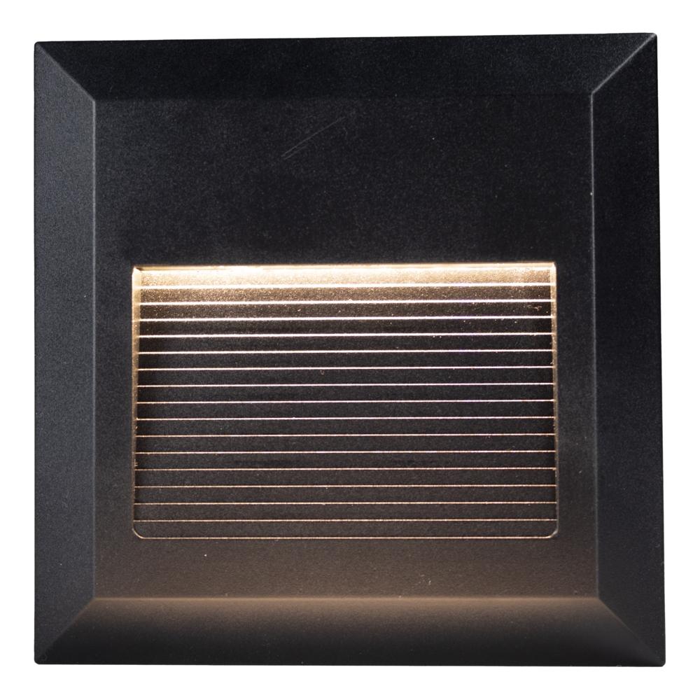 LED Vierkante wand - trap - voetpad verlichting - 2 watt - 3000K warm wit - zwart - vooraanzicht