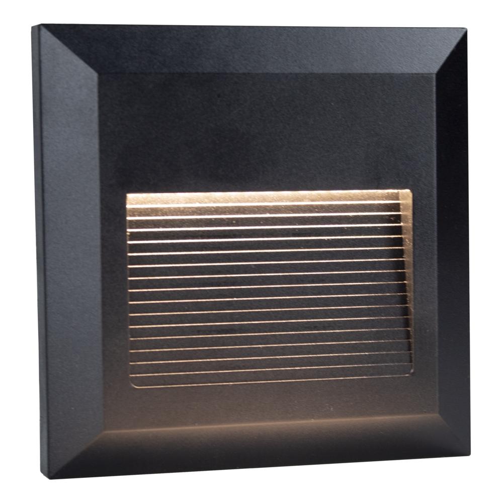 LED Vierkante wand - trap - voetpad verlichting - 2 watt - 3000K warm wit - zwart - zijaanzicht