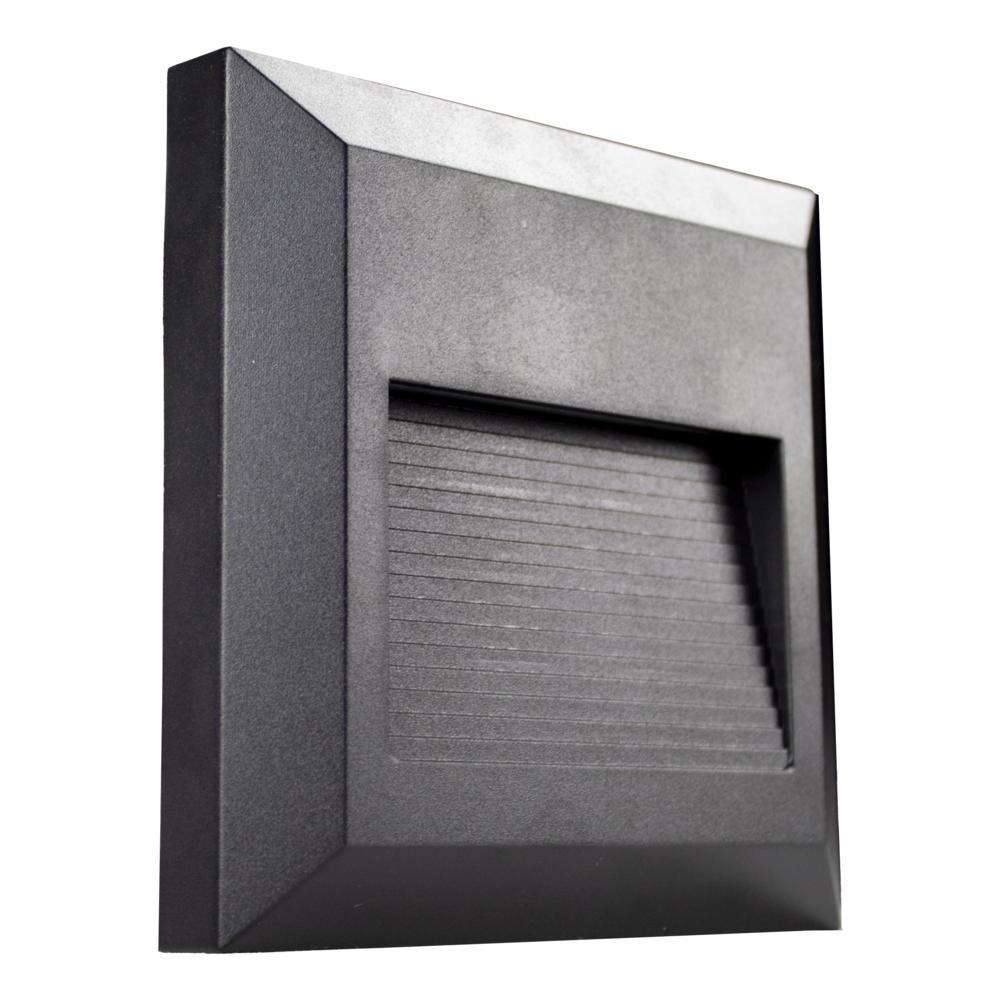 LED Vierkante wand - trap - voetpad verlichting - 2 watt - 3000K warm wit - zwart - zijaanzicht 2