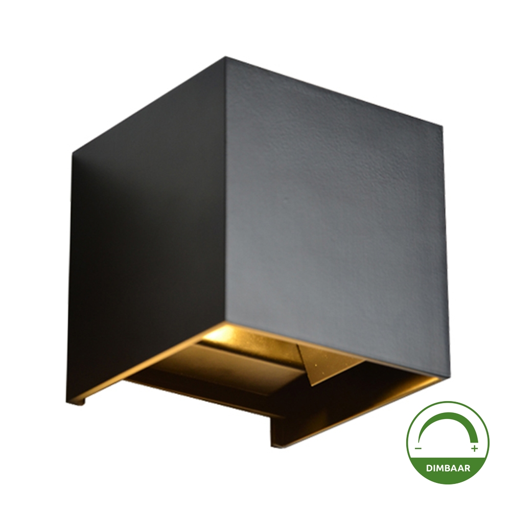 LED Dimbare wandlamp 6 watt - kubus - Cube - kantelbaar - 3000K warm wit - vierkant