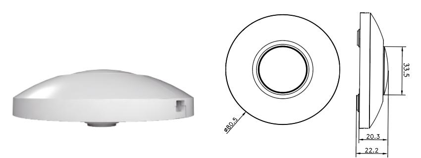 LED Vloer dimmer - 220-240V - 0-50W - Rond - WIT - Tekening