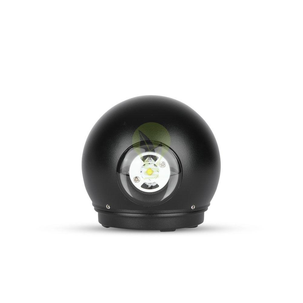 LED Wandlamp 6W Bol Zwart 3000K Warm wit - onderkant