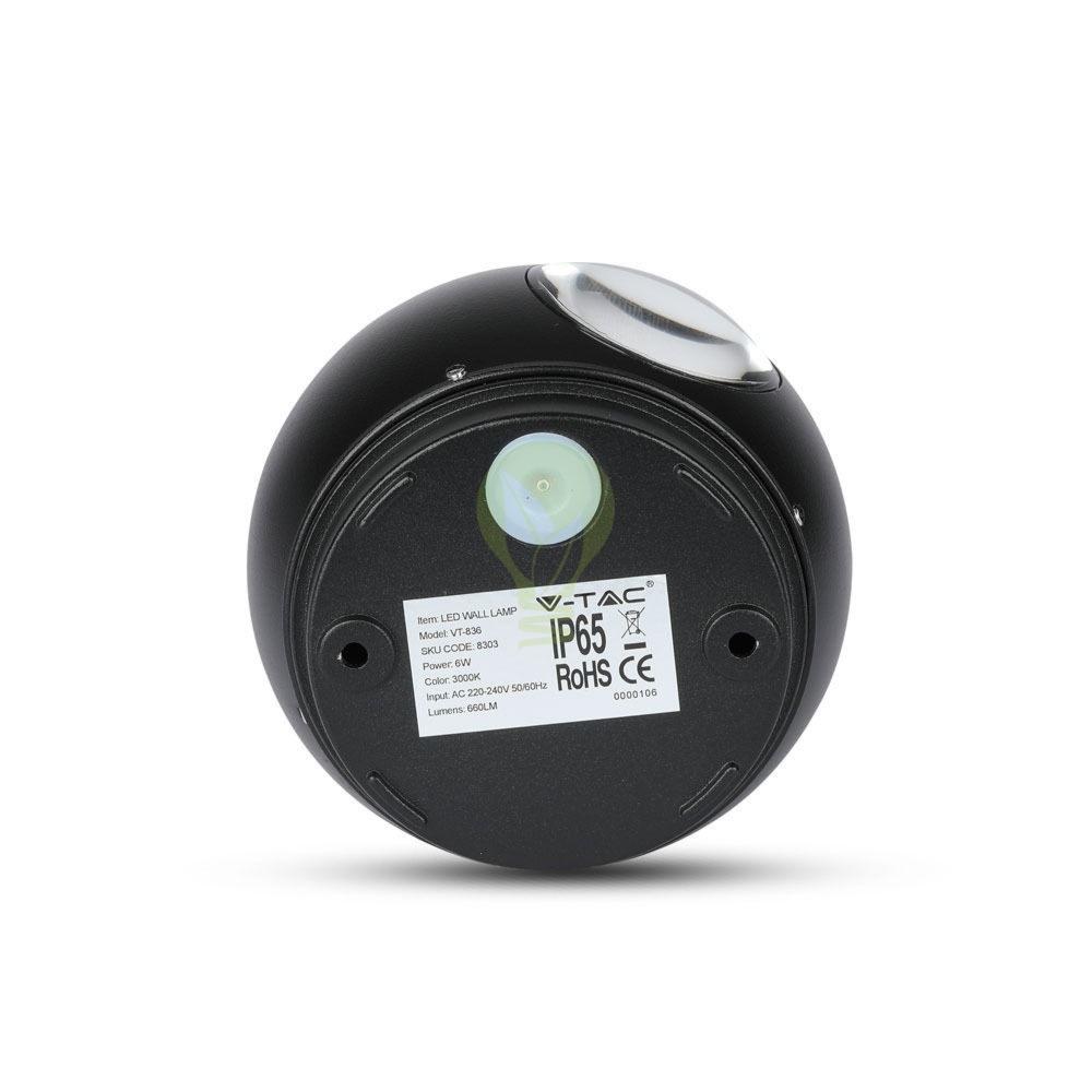 LED Wandlamp 6W Bol Zwart 3000K Warm wit - achterkant