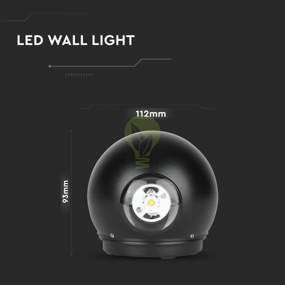 LED Wandlamp 6W Bol Zwart 3000K Warm wit - specificaties