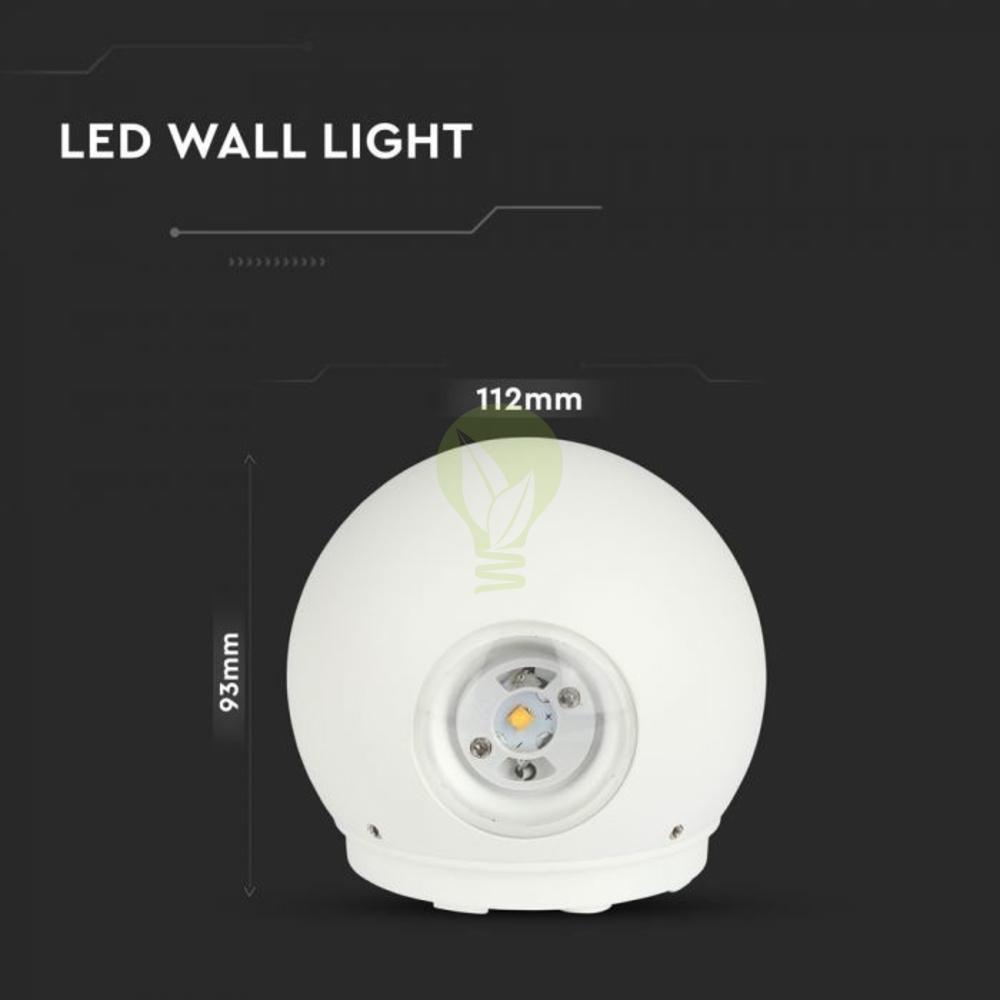 LED Wandlamp 6W Bol Wit 3000K Warm wit - Specificaties