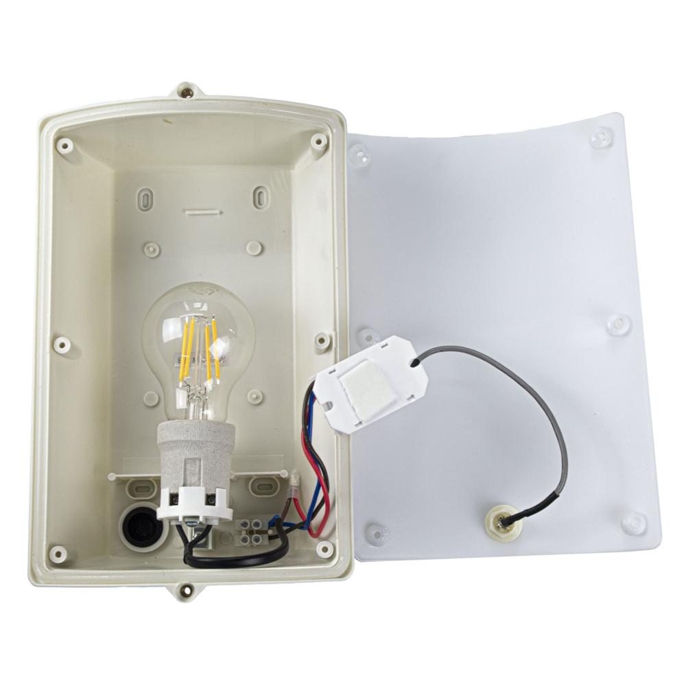 Wandlamp met sensor - RVS - E27 fitting - binnenkant met lamp