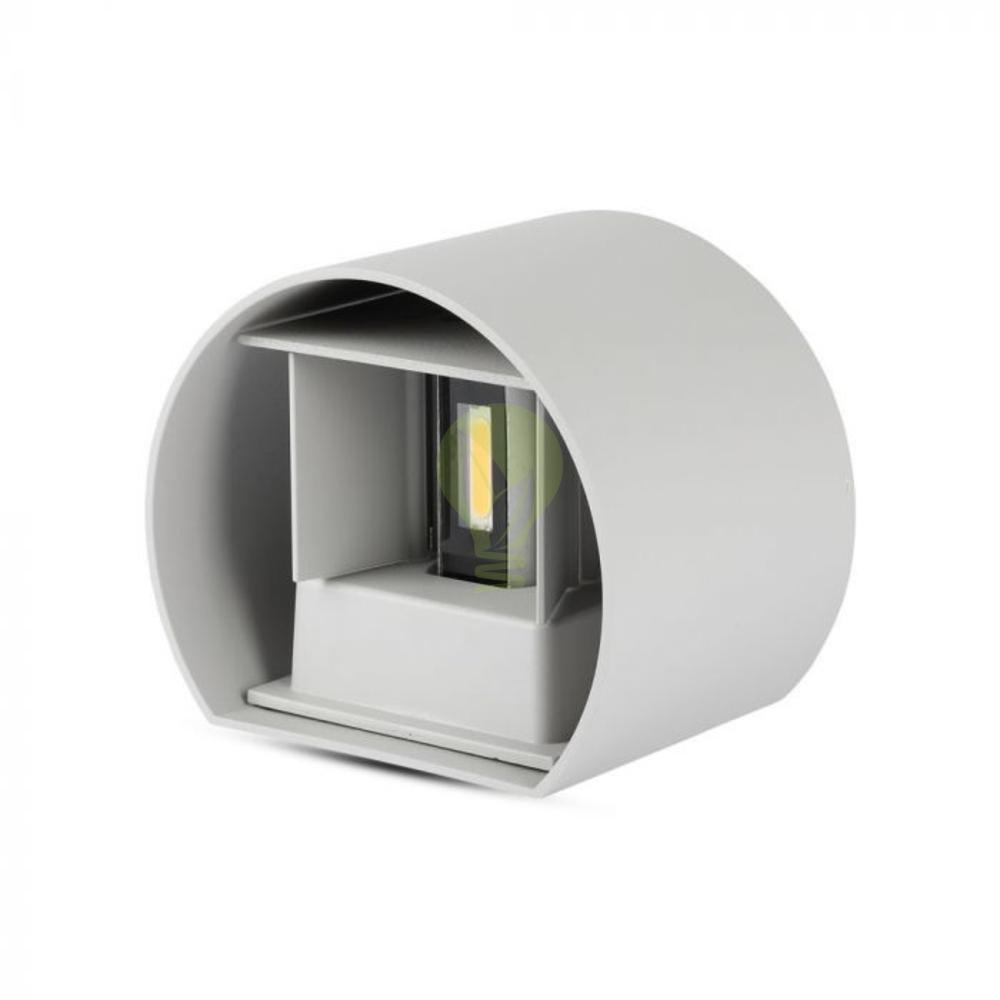 LED ronde Wandlamp 6 Watt 3000K Up & down IP65 grijs - onderkant