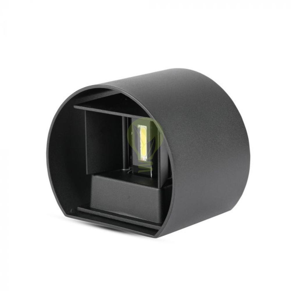 LED ronde Wandlamp 6 Watt 3000K Up & down IP65 zwart - onderkant