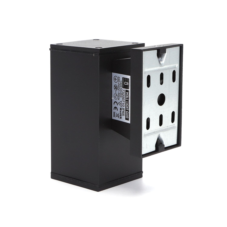 LED Wandlamp met GU10 fitting - vierkant - zwart - ip65 - buiten - dimbaar - achteraanzicht