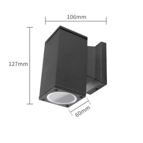 LED Wandlamp met GU10 fitting - vierkant - zwart - ip65 - buiten - dimbaar - afmetingen