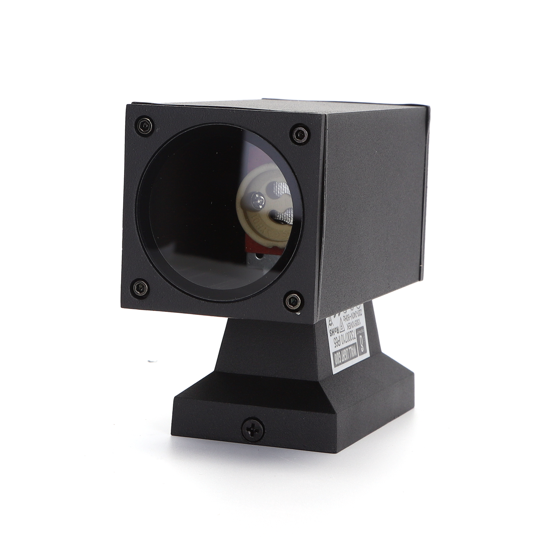LED Wandlamp met GU10 fitting - vierkant - zwart - ip65 - buiten - dimbaar - onderkant