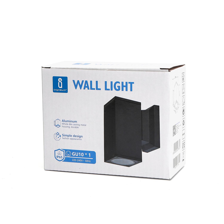 LED Wandlamp met GU10 fitting - vierkant - zwart - ip65 - buiten - dimbaar - verpakking