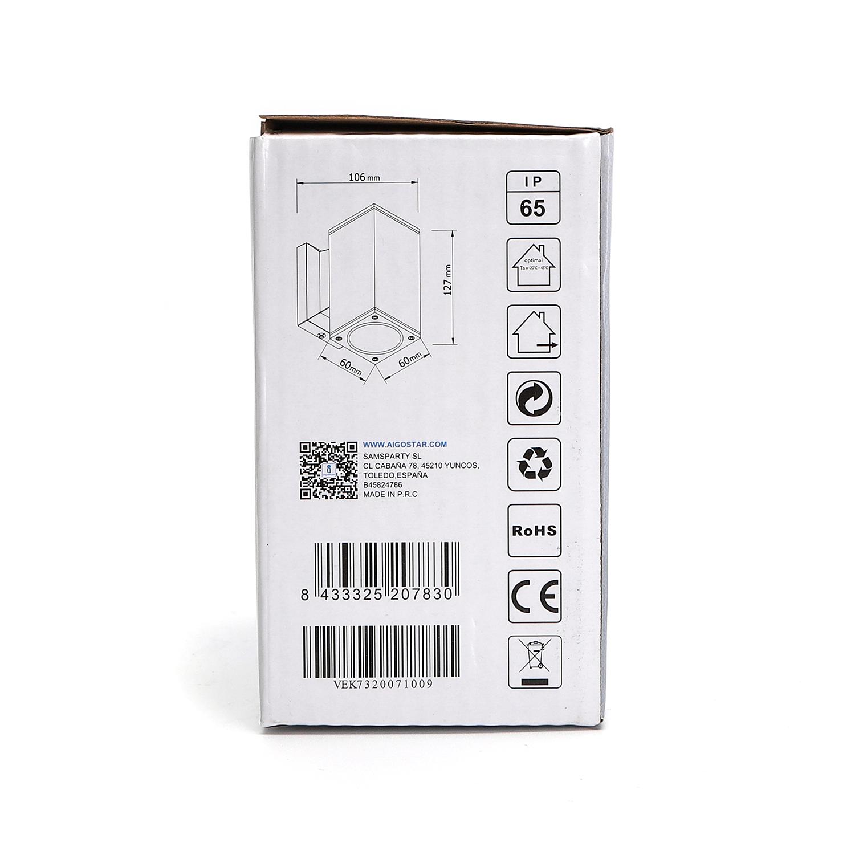 LED Wandlamp met GU10 fitting - vierkant - zwart - ip65 - buiten - dimbaar - zijkant verpakking