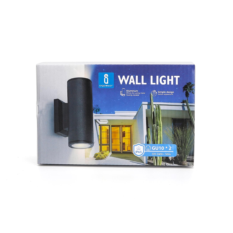 LED Wandlamp - rond - up & down light - GU10 fitting - dimbaar - IP65 waterproof - zwart - sfeerfoto verpakking