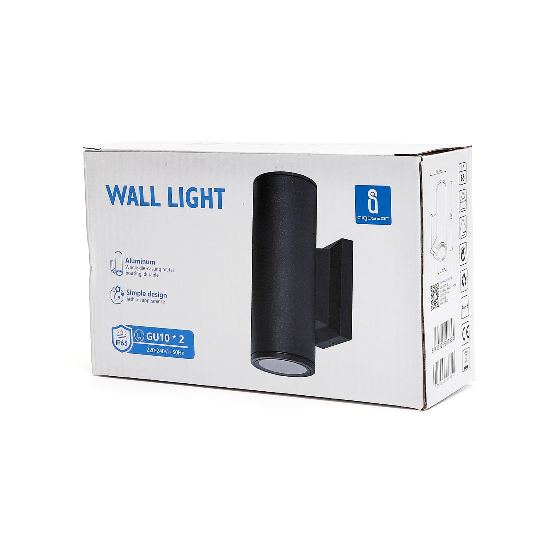 LED Wandlamp - rond - up & down light - GU10 fitting - dimbaar - IP65 waterproof - zwart - verpakking