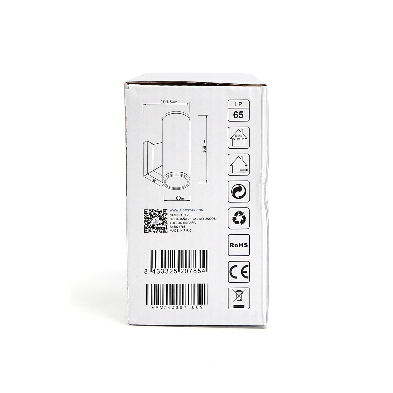 LED Wandlamp - rond - up & down light - GU10 fitting - dimbaar - IP65 waterproof - zwart - zijkant verpakking