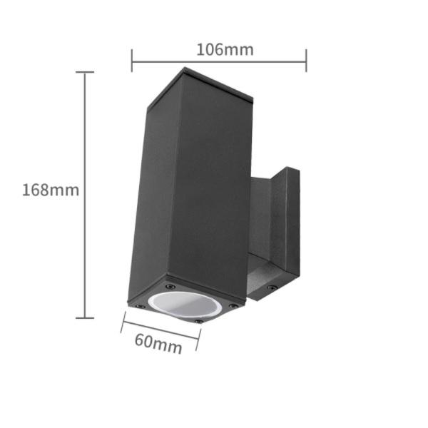LED Wandlamp - vierkant - up & down light - GU10 fitting - dimbaar - IP65 waterproof - zwart - afmetingen
