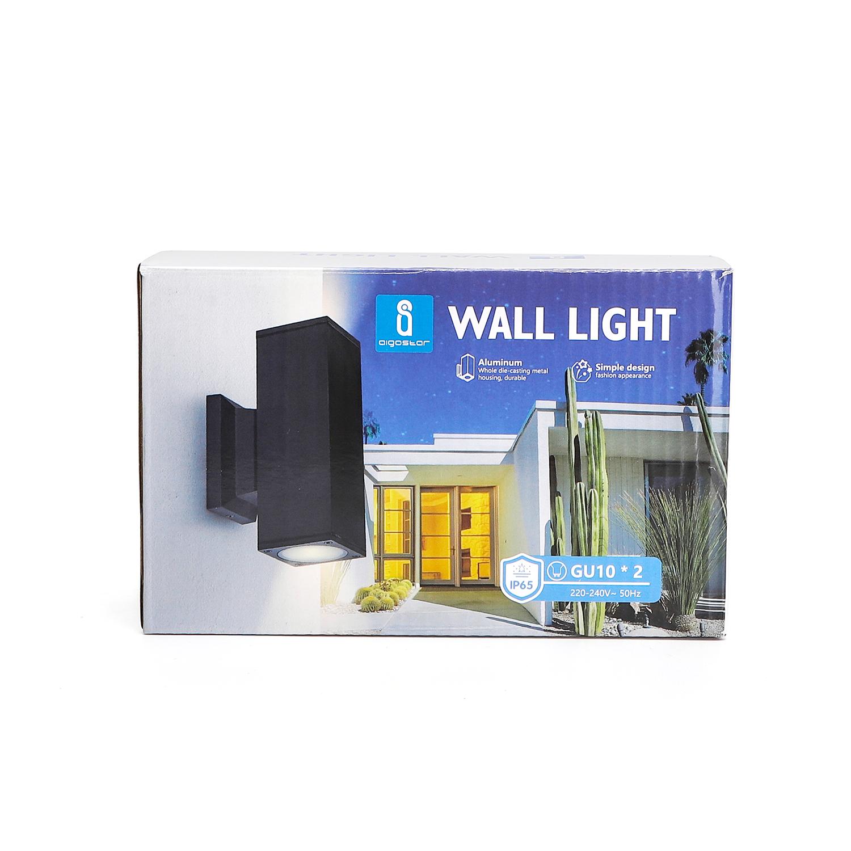 LED Wandlamp - vierkant - up & down light - GU10 fitting - dimbaar - IP65 waterproof - zwart - sfeerfoto verpakking