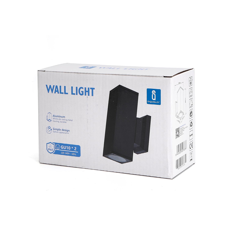 LED Wandlamp - vierkant - up & down light - GU10 fitting - dimbaar - IP65 waterproof - zwart - verpakking