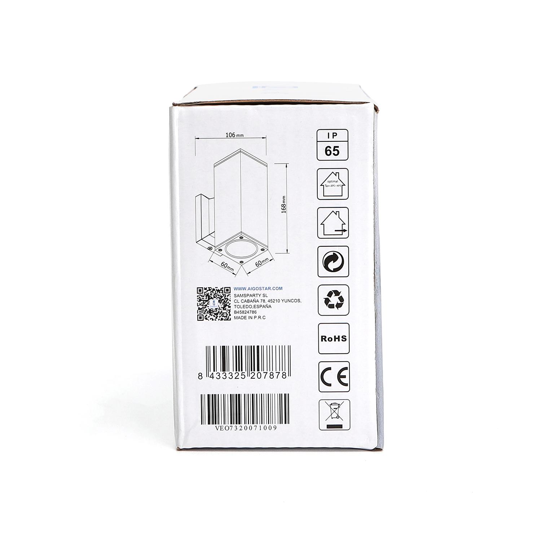 LED Wandlamp - vierkant - up & down light - GU10 fitting - dimbaar - IP65 waterproof - zwart - zijkant verpakking