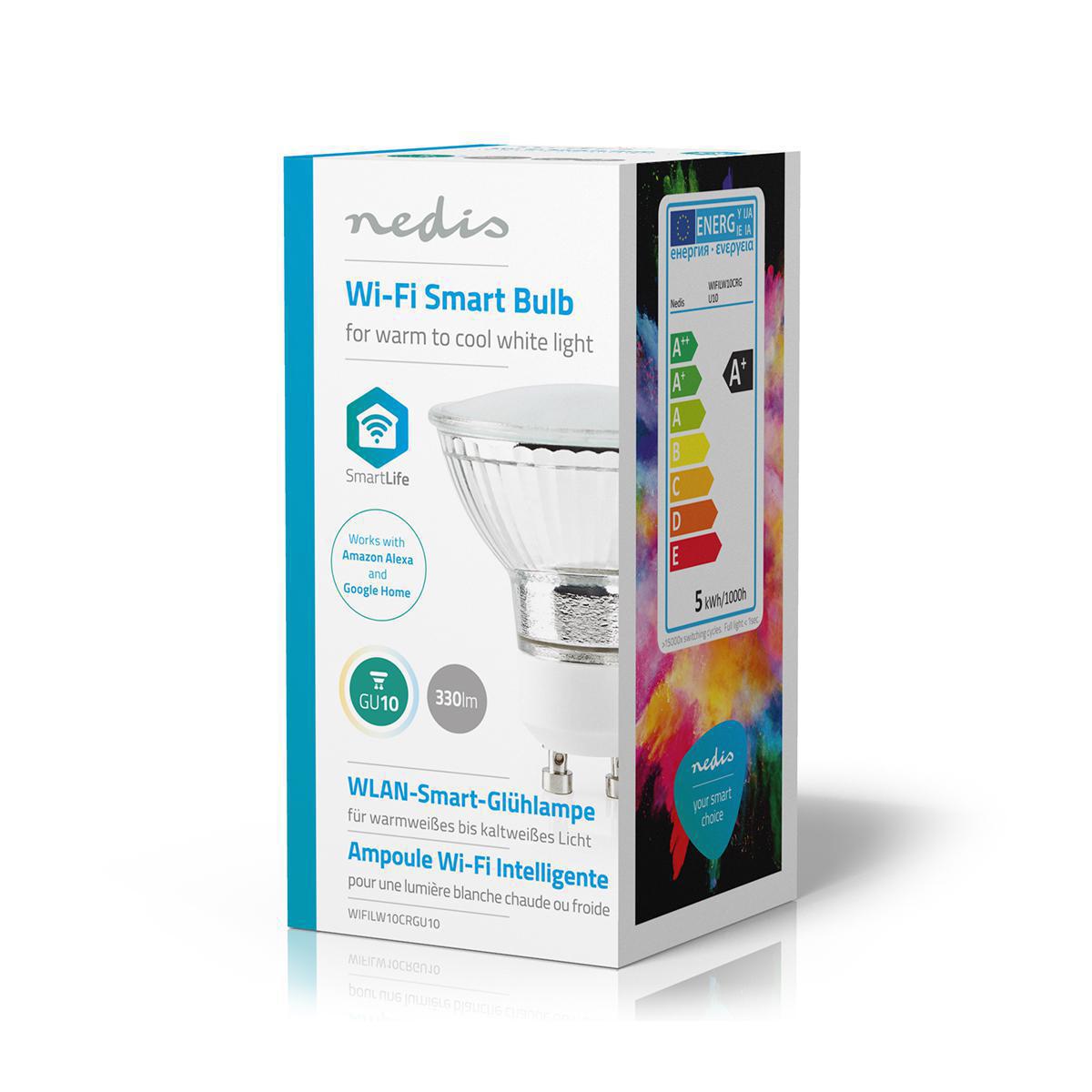 LED WiFi Smart Gu10 spot - 2700K - 6500K - Dimbaar - Warm naar koud wit - zijkant verpakking
