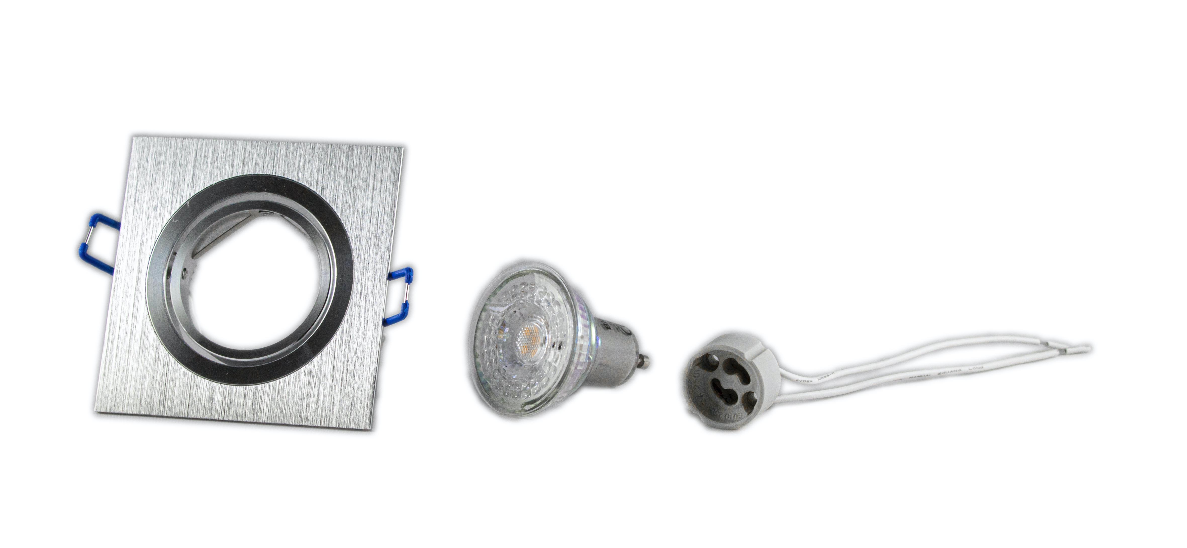 LED dimbare inbouw spot geborsteld aluminium - vierkant - 2700K - onderdelen