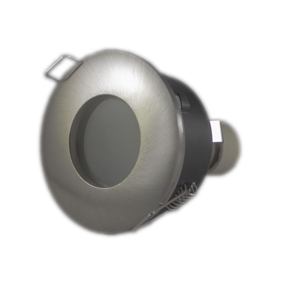 Aluminium inbouwspot Led IP44 Zilver rond 2700K - warm wit - gehele armatuur liggend