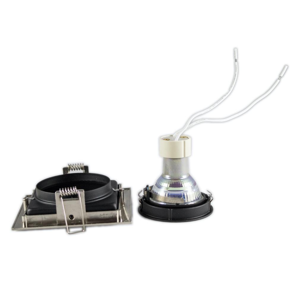 LED inbouw spot zwart met aluminium - vierkant - 90mm - kantelbaar - dimbaar - plaatsing spot