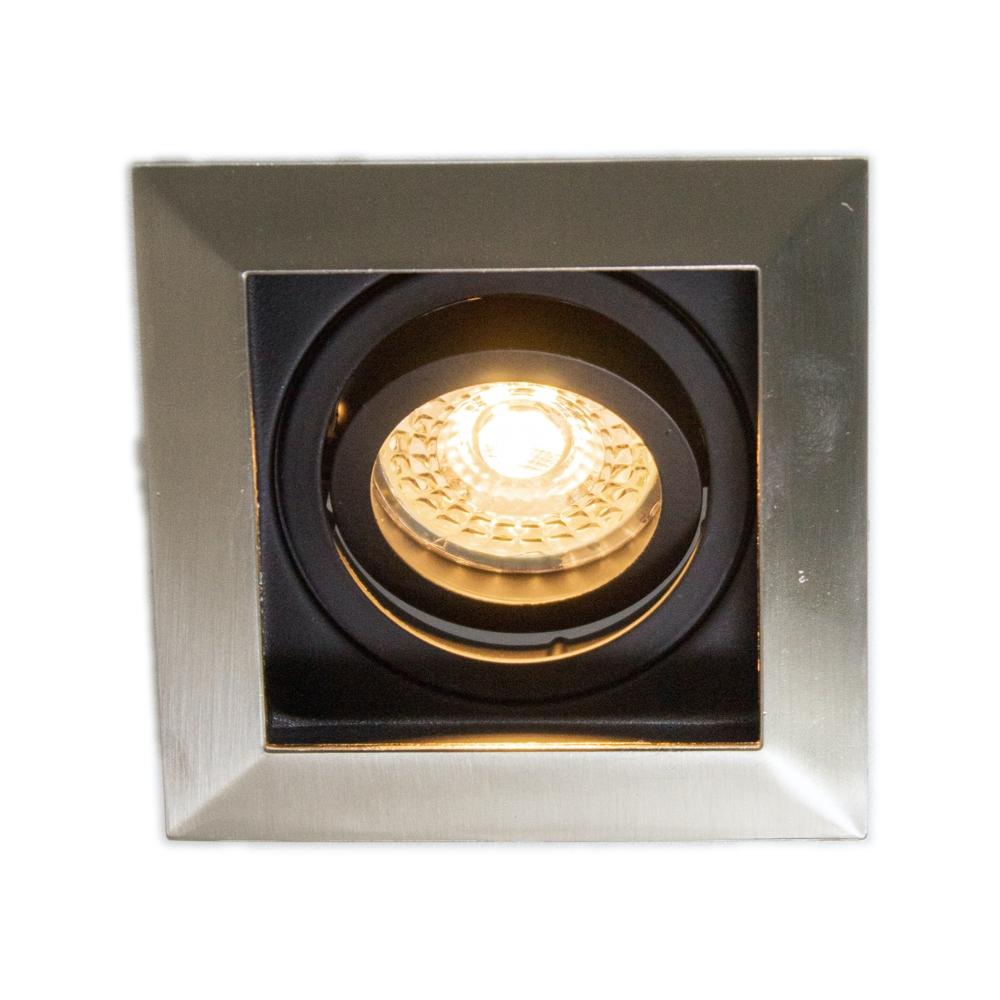 LED aluminium zwarte Inbouwspot | vierkant | 5,5W | Dimbaar | London | 2700K Voorkant brandend