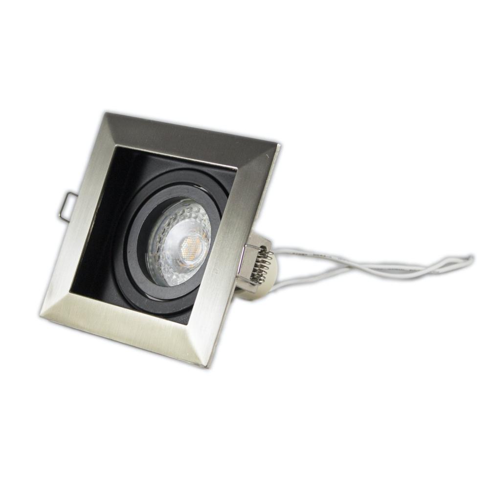 LED inbouw spot zwart met aluminium - vierkant - 90mm - kantelbaar - dimbaar