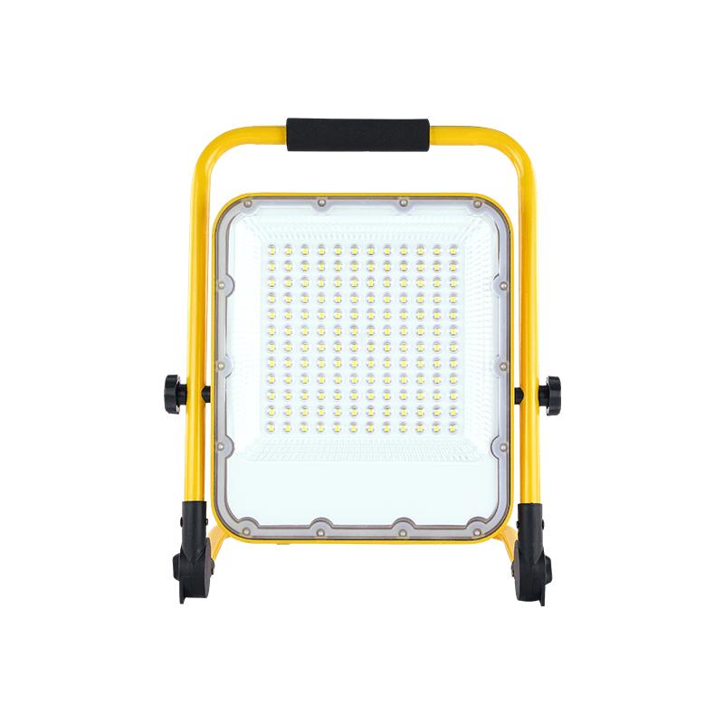LED bouwlamp 100 Watt Op accu 6000K - vooraanzicht lamp aan