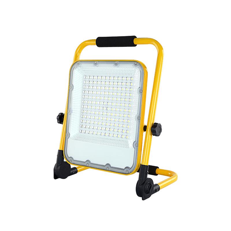 LED bouwlamp 100 Watt Op accu 6000K - zijaanzicht lamp uit