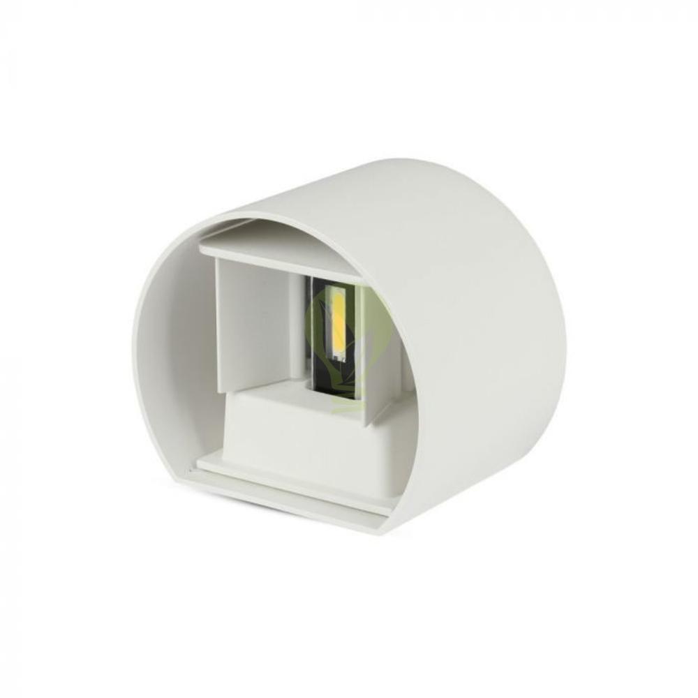 LED ronde Wandlamp 6 Watt 3000K Up & down IP65 wit - onderkant